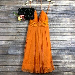 Nicole Miller Collection orange silk halter dress